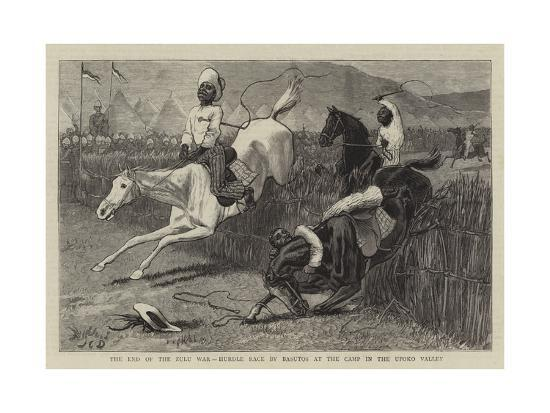 The End of the Zulu War, Hurdle Race by Basutos at the Camp in the Upoko Valley-John Charles Dollman-Giclee Print