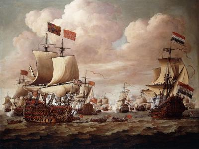 The English and Dutch Fleets exchanging Salutes at Sea-Willem Velde I-Giclee Print
