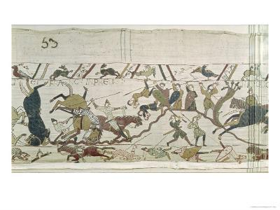 The English and French Fall Side by Side in Battle, from the Bayeux Tapestry--Giclee Print
