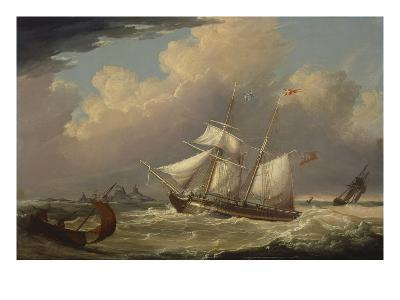 The English Brig, 'The Guide', Entering the River Elbe in Germany-Thomas A. Binks-Giclee Print
