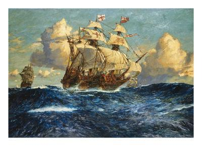 The English Fleet at Sea-Charles Dixon-Giclee Print