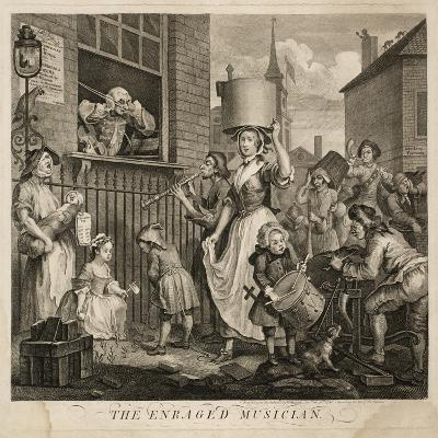 The Enraged Musician-William Hogarth-Giclee Print