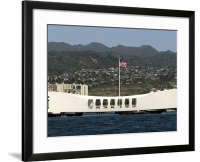 The Ensign Flies Over the Arizona Memorial-Stocktrek Images-Framed Photographic Print