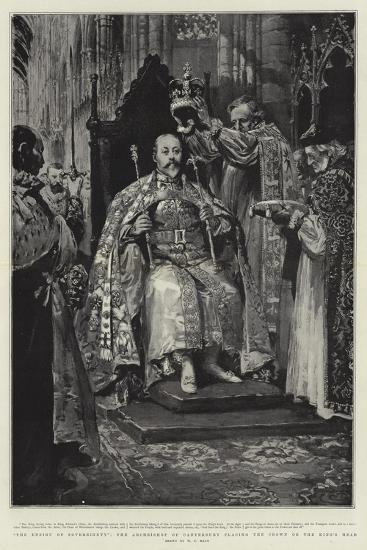 The Ensign of Sovereignty, the Archbishop of Canterbury Placing the Crown on the King's Head-William T^ Maud-Giclee Print