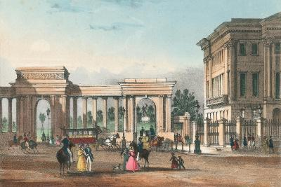 The Entrance to Hyde Park from Piccadilly with the West Wing of Apsley House-English School-Giclee Print