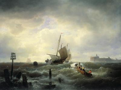 The Entrance to the Harbour at Hellevoetsluys, 1850-Andreas Achenbach-Giclee Print