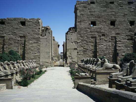 The Entrance with the First Pylon and Ram-Headed Sphinxes, Temple of Amun, Karnak Temple Complex--Photographic Print