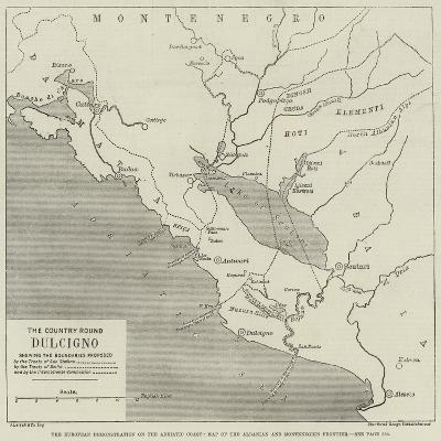 The European Demonstration on the Adriatic Coast, Map of the Albanian and Montenegrin Frontier--Giclee Print