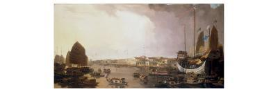 The European Factories at Canton in China-William Daniell-Giclee Print