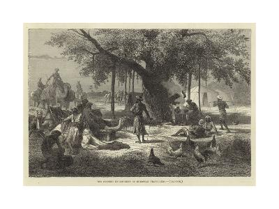 The Evening Encampment of European Travellers, Rajpoor--Giclee Print