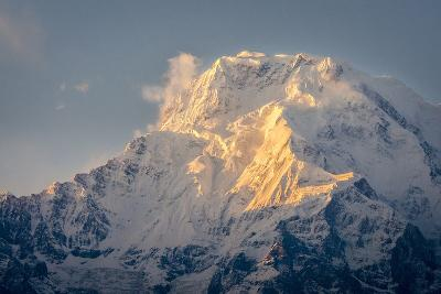 The Evening Sun on Annapurna South, 7219M, Annapurna Conservation Area, Nepal, Himalayas, Asia-Andrew Taylor-Photographic Print