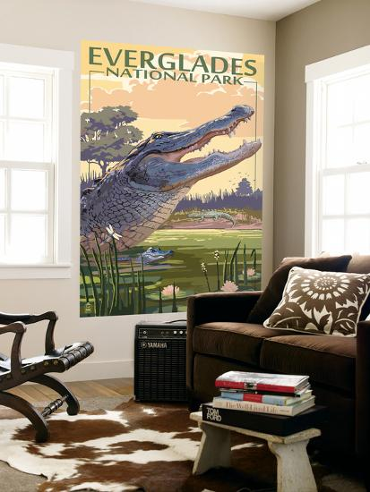 The Everglades National Park, Florida - Alligator Scene-Lantern Press-Wall Mural