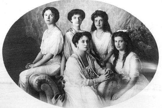 The Ex-Tsaritsa Alexandra of Russia with Her Daughters, 1918--Photographic Print