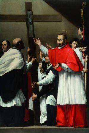 The Exaltation of the Holy Nail with Saint Charles Borromeo-Carlo Saraceni-Stretched Canvas Print