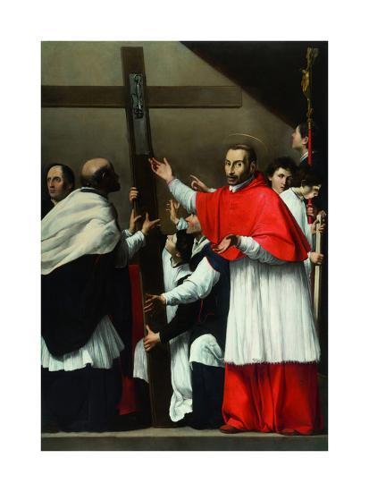 The Exaltation of the Holy Nail with Saint Charles Borromeo-Carlo Saraceni-Giclee Print