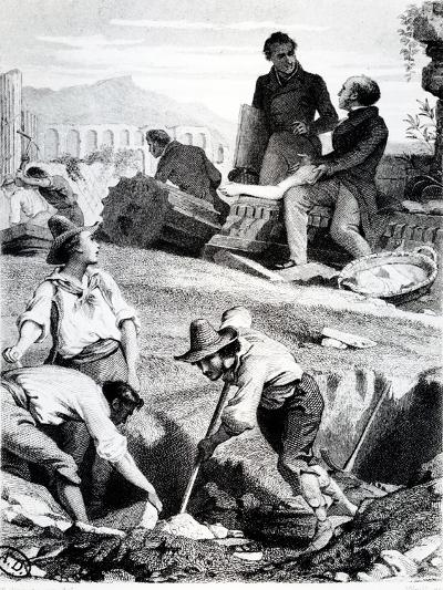 The Excavations at Torre Vergata, from 'Memoires D'Outre-Tombe' by Chateaubriand, 1850 (Litho)-Felix Philippoteaux-Giclee Print