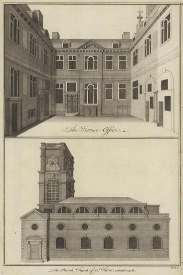 The Excise Office, London and the Parish Church of St Olave, Southwark--Giclee Print