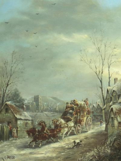 The Exeter Coach in the Snow-John Charles Maggs-Giclee Print