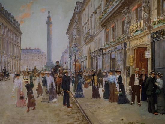 The Exit of the Tailors from the Maison Paquin at Rue De La Paix-Jean B?raud-Giclee Print