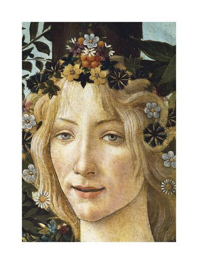 The Face of Flora, Detail of the Allegory of Spring, Circa 1477-1490-Sandro Botticelli-Giclee Print