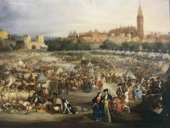 The Fair of Seville, the Cathedral and Giralda in Background-Andrea Appiani-Giclee Print
