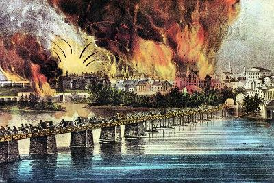 The Fall of Richmond, Virginia, American Civil War, 2 April 1865-Currier & Ives-Giclee Print