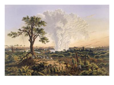 The Falls by Sunrise with the Spray Cloud Rising 1,200 Feet, 1865 (Colour Print)-Thomas Baines-Giclee Print