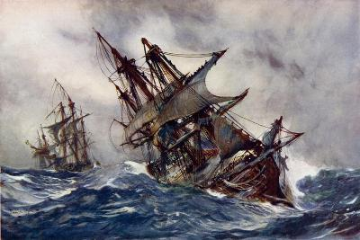 """The """"Fame"""" with Foul-Weather Jack-Charles Edward Dixon-Giclee Print"""