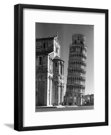 The Famed Leaning Tower of Pisa Standing Beside the Baptistry of the Cathedral-Margaret Bourke-White-Framed Premium Photographic Print