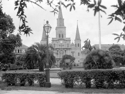The Famed Old St. Louis Cathedral Faces Jackson Square or Place D'Armes--Photographic Print