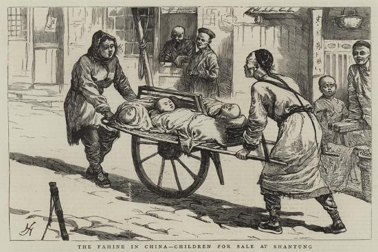 The Famine in China, Children for Sale at Shantung--Giclee Print
