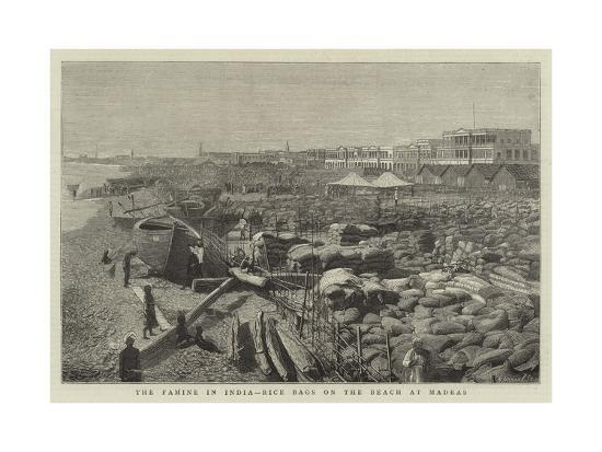 The Famine in India, Rice Bags on the Beach at Madras--Giclee Print