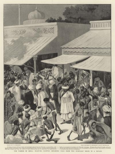The Famine in India, Starving Natives Obtaining Food from the Bunniahs' Shops in a Bazaar--Giclee Print