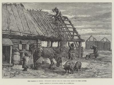 The Famine in Russia, Peasants Taking Thatch from the Roofs to Feed Cattle-Johann Nepomuk Schonberg-Giclee Print