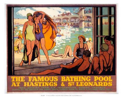 The Famous Bathing Pool at Hastings and St Leonards, LMS, c.1920s--Art Print