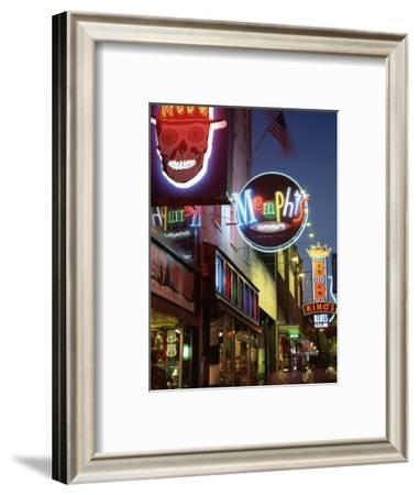 The Famous Beale Street at Night, Memphis, Tennessee, United States of America, North America-Gavin Hellier-Framed Photographic Print