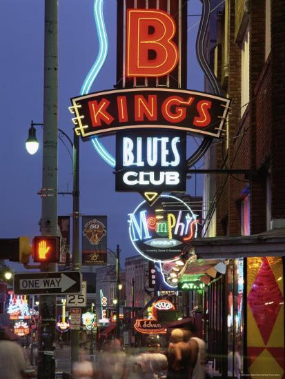 The Famous Beale Street at Night, Memphis, Tennessee, United States of America, North America-Gavin Hellier-Photographic Print