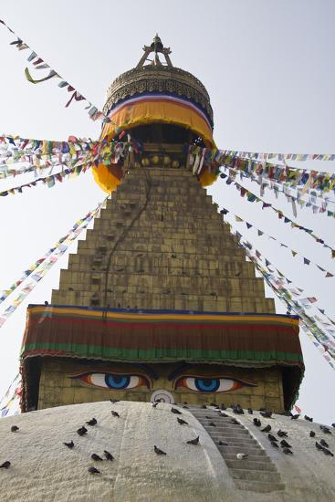 The Famous Buddhist Bodhnath Stupa with Prayer Flags-Jonathan Irish-Photographic Print