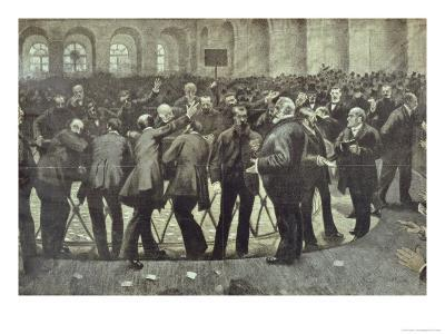 "The Famous ""Corbeille"" at the Paris Bourse, circa 1885--Giclee Print"