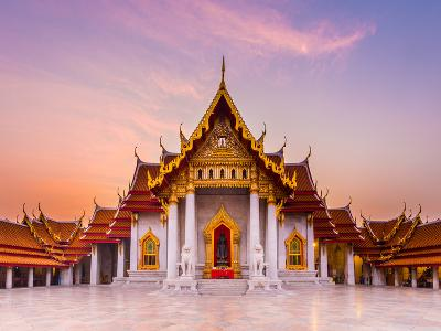 The Famous Marble Temple Benchamabophit from Bangkok, Thailand- Pumidol-Photographic Print