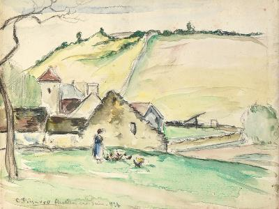 The Farm at Chatillon-Sur-Seine, 1882 (W/C, Wash and Charcoal on Paper)-Camille Pissarro-Giclee Print