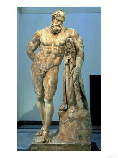 The Farnese Hercules, Roman Copy after a Greek Original by Lisippus, 3rd Century--Giclee Print