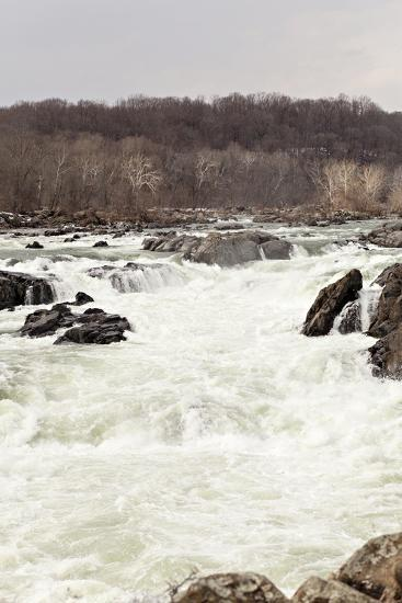 The Fast Moving Waters of the Potomac River Cascade over Boulders-Hannele Lahti-Photographic Print