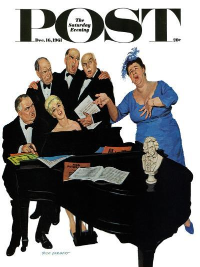 """The Fat Lady Sings,"" Saturday Evening Post Cover, December 16, 1961-Richard Sargent-Giclee Print"