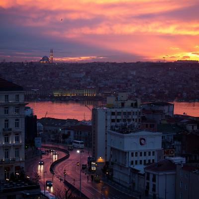The Fatih Mosque at Sunset with the Golden Horn-Alex Saberi-Photographic Print