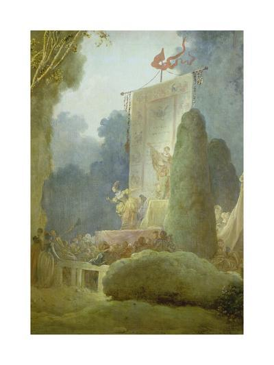 The Festival in the Park of St. Cloud. Detail: a Balladeer, 1778-80-Jean-Honor? Fragonard-Giclee Print