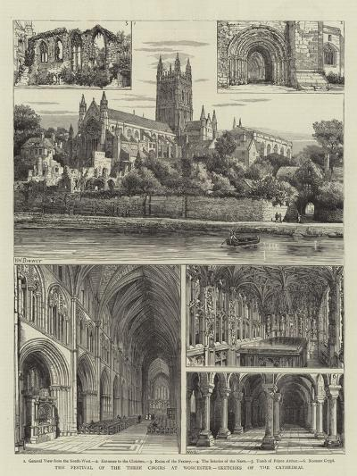 The Festival of the Three Choirs at Worcester, Sketches of the Cathedral-Henry William Brewer-Giclee Print