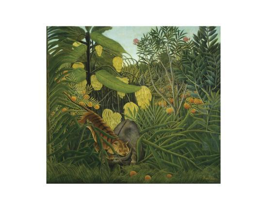 The Fight Between a Tiger and Buffalo, c.1908-Henri Rousseau-Art Print