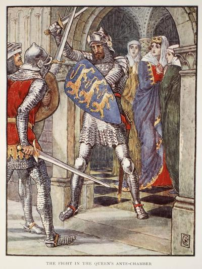 The fight in Queen's Ante-Chamber, from 'Stories of Knights of Round Table' by Henry Gilbert-Walter Crane-Giclee Print