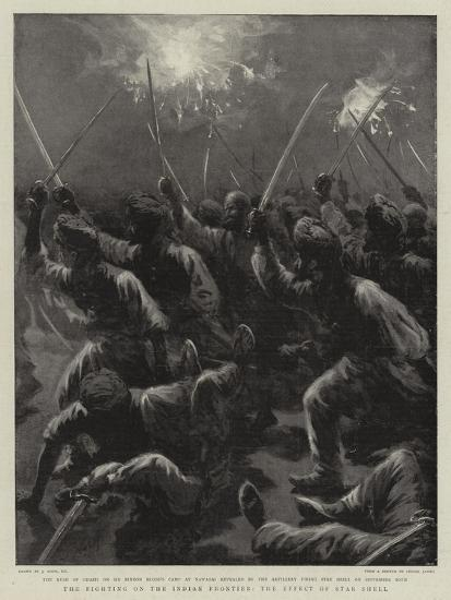 The Fighting on the Indian Frontier, the Effect of Star Shell-Joseph Nash-Giclee Print